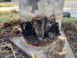 Lighting pole damage